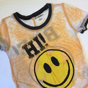 Vintage Burnout Smiley Face Shirt